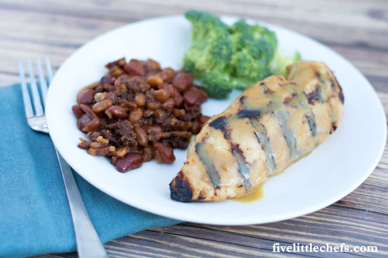 Easy Grilled Honey Mustard Chicken is tender & juicy! This can be grilled for the perfect summer BBQ. Save some for a salad or a wrap the next day.