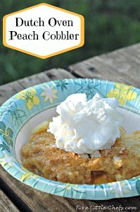 Dutch Oven Peach Cobbler by fivelittlechefs.com - a very simple & delicious dutch oven dessert #Dutch Oven #Peach Cobbler #for campers #recipe