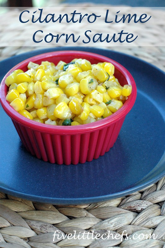 Cilantro Lime Corn Saute from fivelittlechefs.com An easy side dish to prepare within minutes with minimal ingredients. #corn #recipe #cilantro
