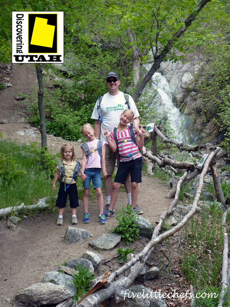 Ghost Falls Trail is a great family friendly hike leading up to a waterfall that is sometimes there and sometimes isn't. Details at fivelittlechefs.com #discoveringutah #hike