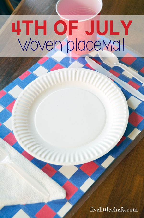 I'm always in need of 4th of July party ideas. These DIY woven red, white and blue placemats are fun for kids to craft.