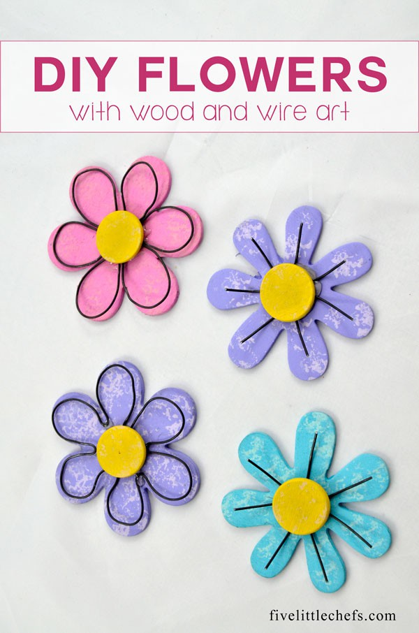 Wood Flowers DIY with wire art.