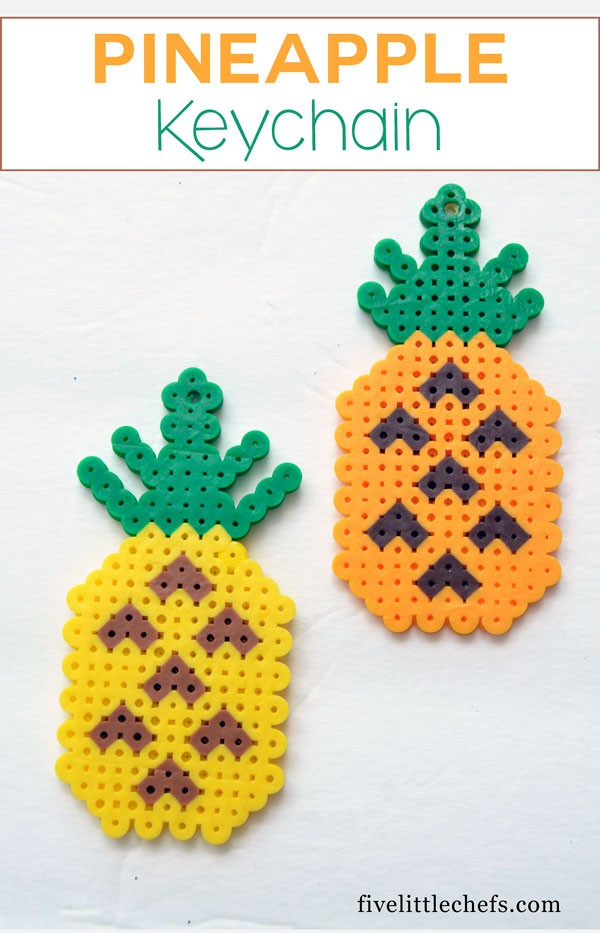 DIY Pineapple kids crafts keychains for keys or backpacks.
