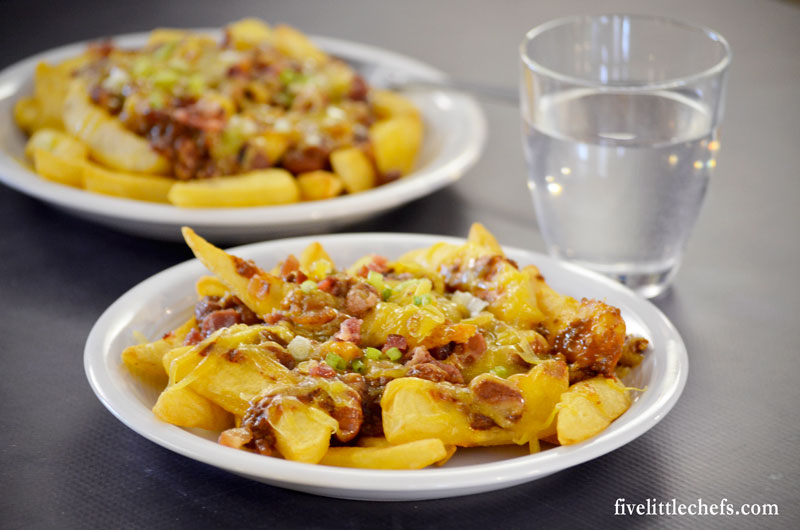 Chili Cheese Fries is an easy recipe because the fries are baked in the oven then are loaded up and ready to eat.