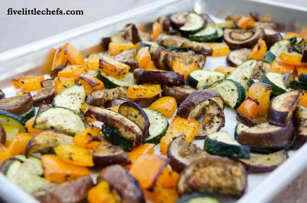 Roasted Mixed Vegetables with Basil is an easy side dish to prepare. This is a great recipe kids can help with or make themselves from fivelittlechefs.com